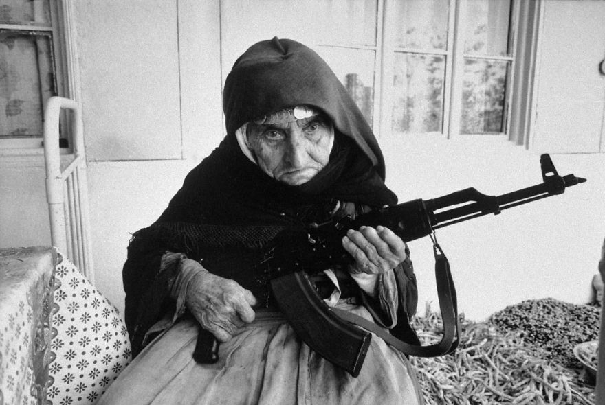 106-year old Armenian woman protecting her home with an AK-47, 1990
