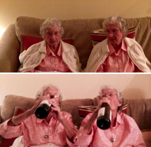 My Badass Grandma And Great Aunt Taking A Swig On Their 97th Birthday