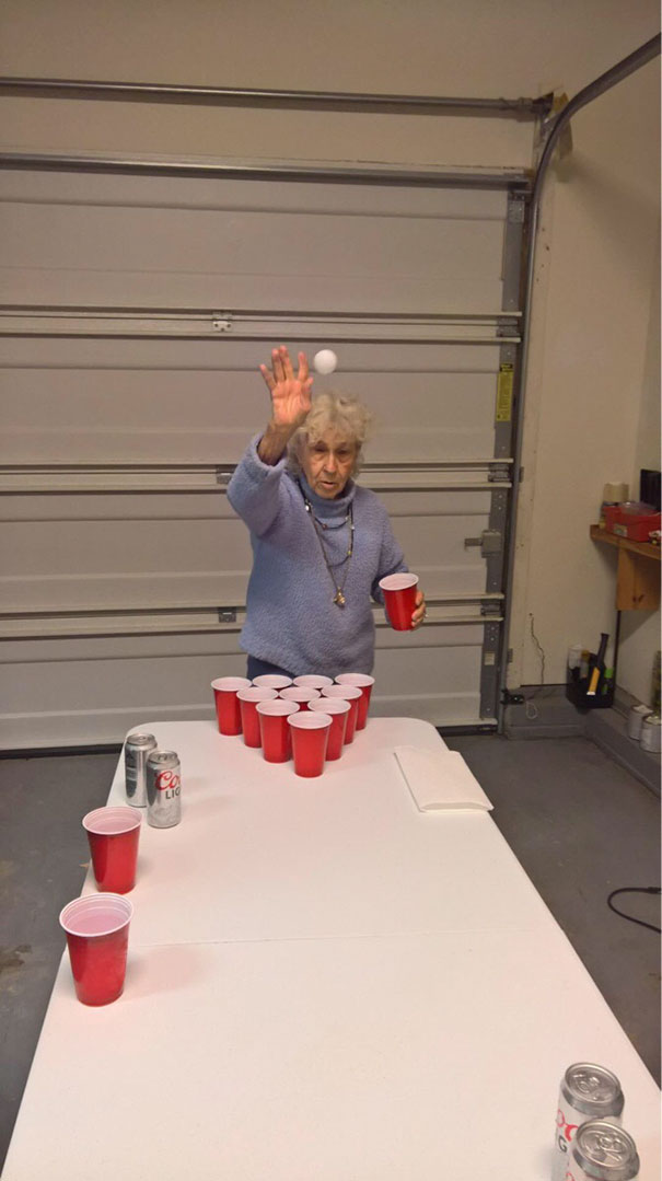 My Cousin Sent Me A Photo Of My 90 Year Old Grandmother Playing Beer Bong