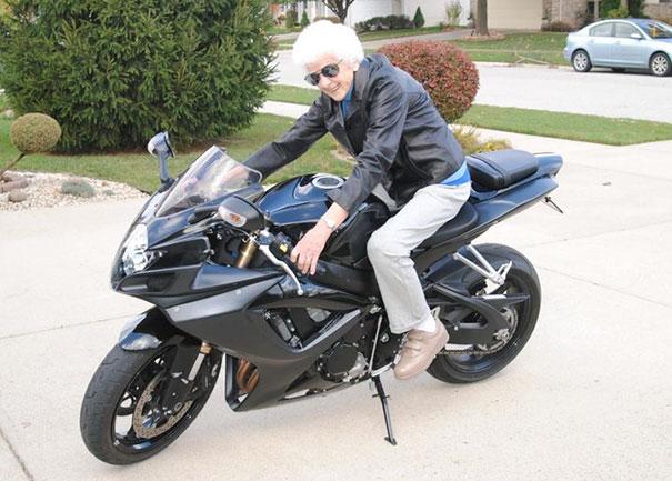 My 86 Year Old Great Grandma On My 2006 Suzuki Gsx-R 600 Rockin Some Leather And Shades