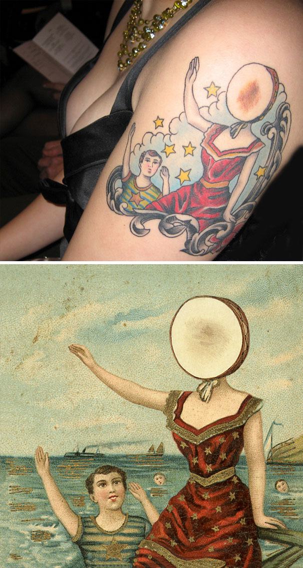 "Neutral Milk Hotel's Cover Art For ""In The Aeroplane Over The Sea"" Turned Into A Tattoo"