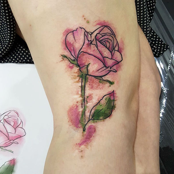 Watercolour Rose Over An Old Birthmark Scar
