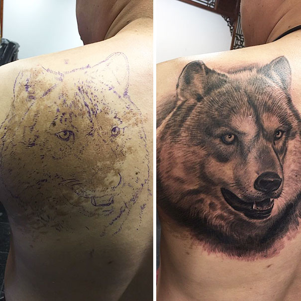 Wolf Tattoo Covering Birthmark