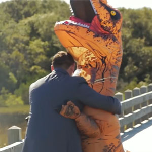 This Bride Wore A T-Rex Costume To Pull A Hilarious 'First Look' Prank On Groom, And His Reaction Is Priceless