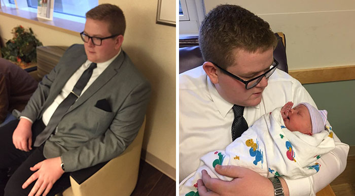 Este hombre fue al hospital con traje para conocer a su sobrina recién nacida por una razón adorable