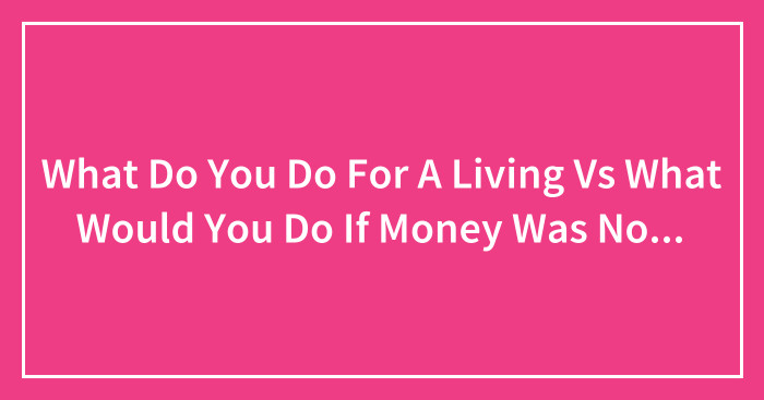 What Do You Do For A Living Vs What Would You Do If Money Was No Objec What Would You Do If Money Was No Object?