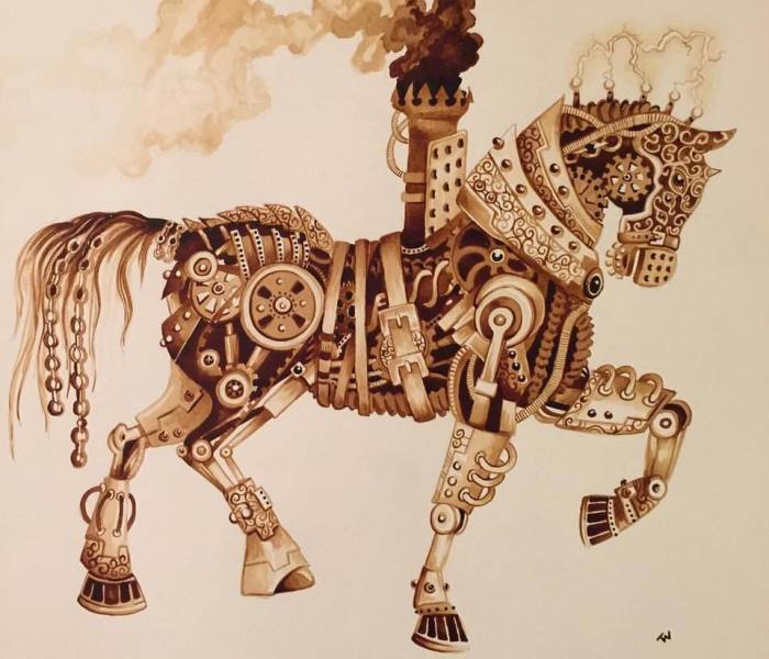 "It Took Me Many Hours To ""Paint"" Steampunk Art Using Real Coffee"