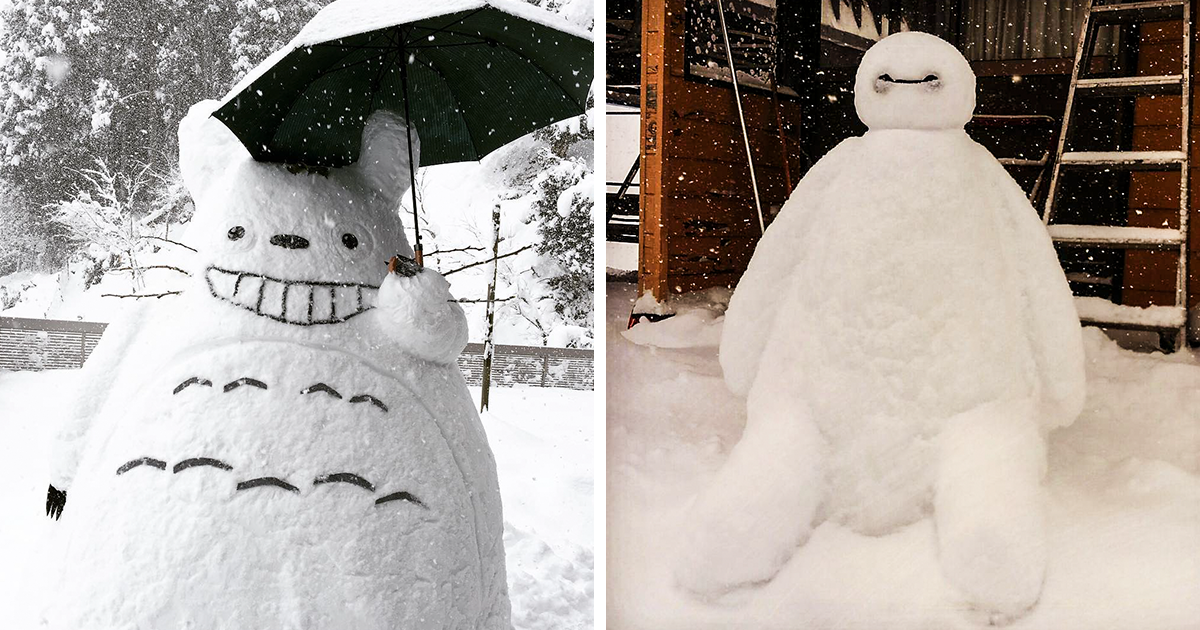People In Japan Are Making Creative Snow Sculptures After Heavy Snowfall Hits The Country