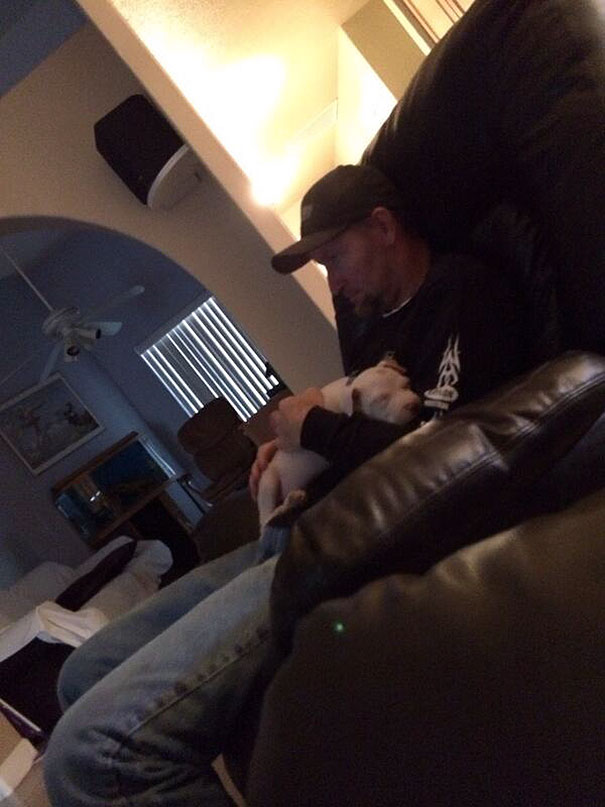 My Dad Didn't Want Me To Get A Dog, But Now He Treats Him Like A Baby. Rubs His Back Till He Falls Asleep