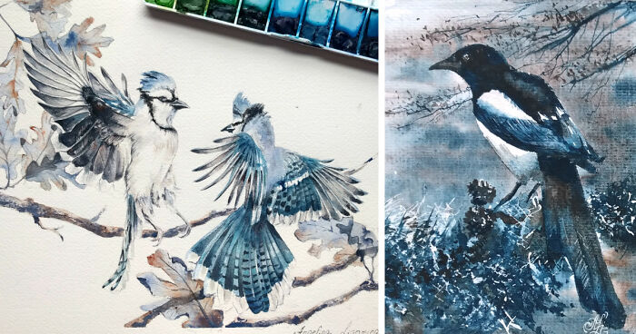Watercolor birds to celebrate my first anniversary of for My first watercolor painting