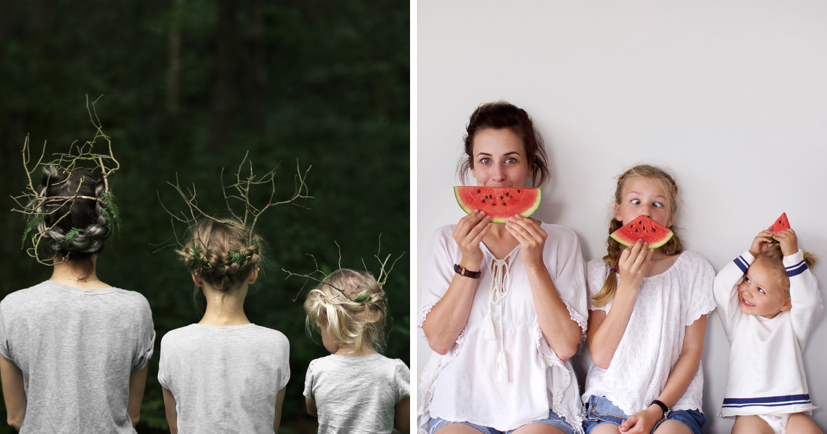 Mother Of Two Takes Adorable Photos Of Herself And Her Daughters In Matching Clothing