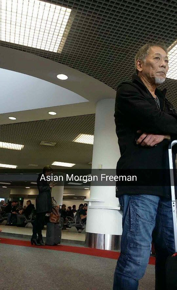 A Friend Of Mine Was At The Airport And Found Asian Morgan Freeman