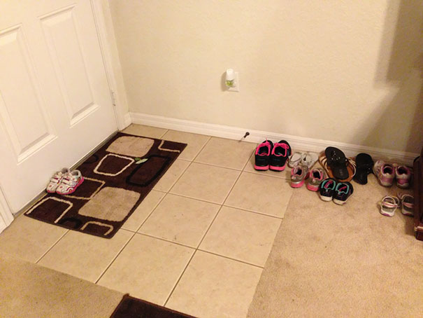 I Told My 2 Year Old To Put Her Shoes By The Front Door. She Takes Me Very Literally Sometimes