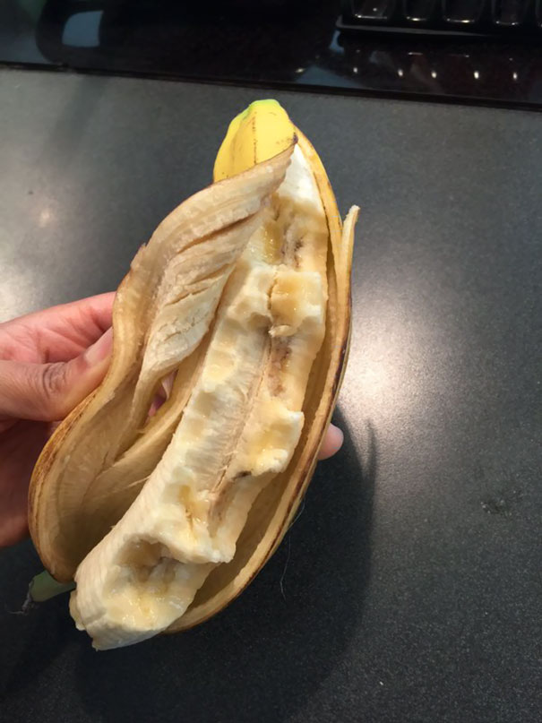 So I Told My 8 Year Old To Only Eat Half Of The Banana. This Was Her Interpretation