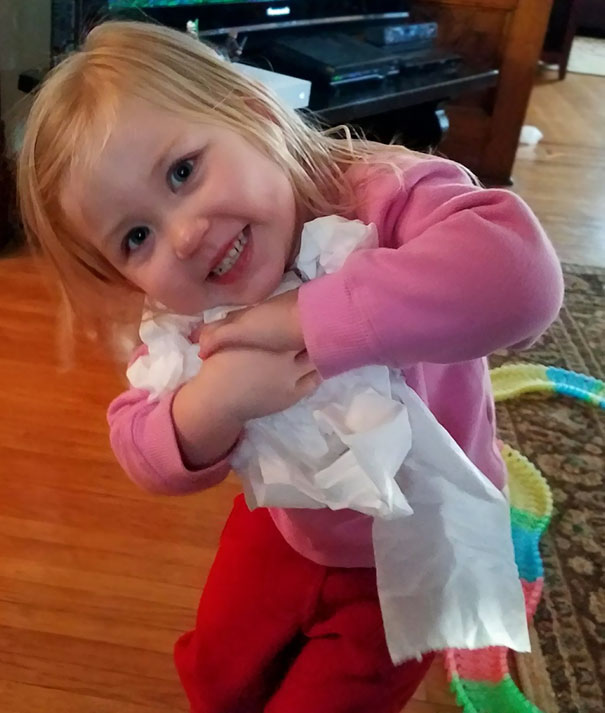 I Told My 2-Year-Old To Get Toilet Paper To Wipe Her Nose. She Grabbed Half A Square. I Told Her To Get A Big Piece. She Came Back With This
