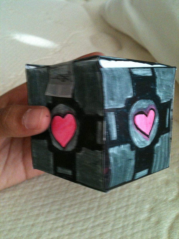 My Little Sister Was Making Bookmarks And Asked If I Wanted One. I Asked Her To Make Me One That Looked Like A Companion Cube. She Did Me One Better And Made It An Actual Cube