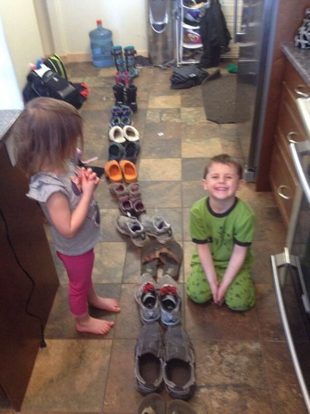 I Asked The Kids To Organize The Shoes. They Did What I Said