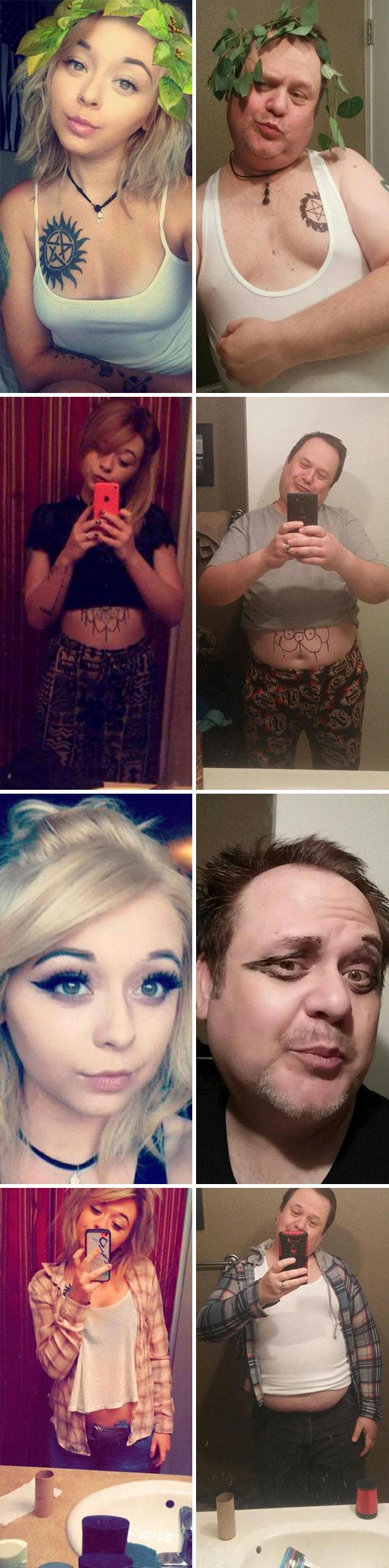 Dad Trolls His Daughter By Recreating Her Selfies