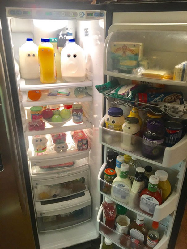 My dad put googly eyes on everything in our refrigerator