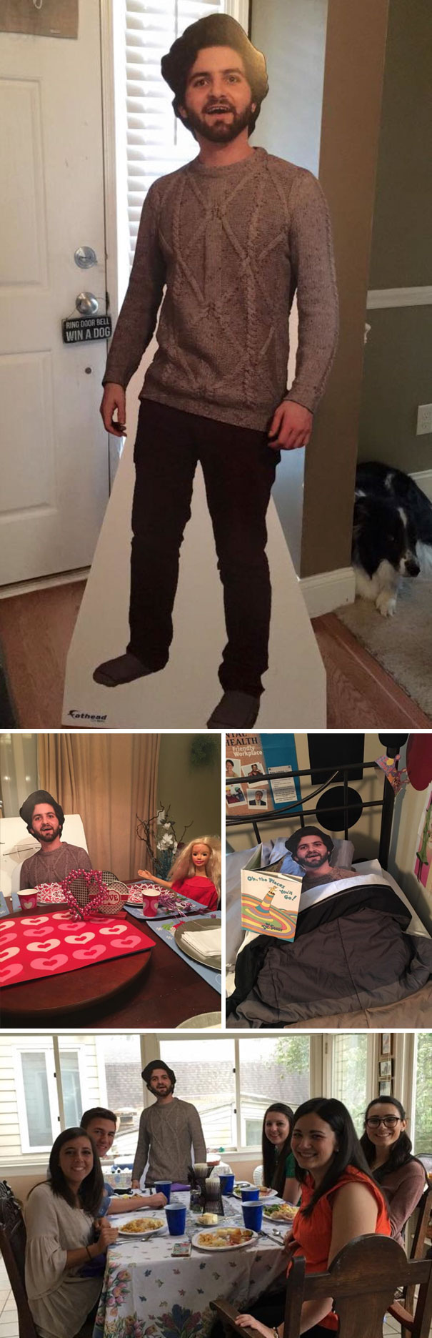 Son Studying Abroad Sent Mom Cutout Of Himself And Thought They'd Laugh And Put Somewhere In The Corner. But His Mom Decided To Take The Cutout Along To Family Gatherings