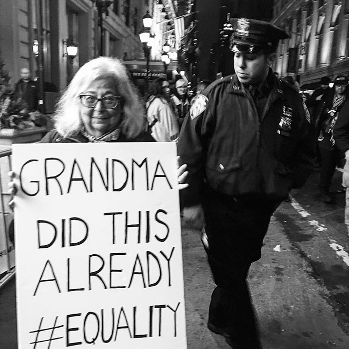 My Grandma At The Women's March In Nyc