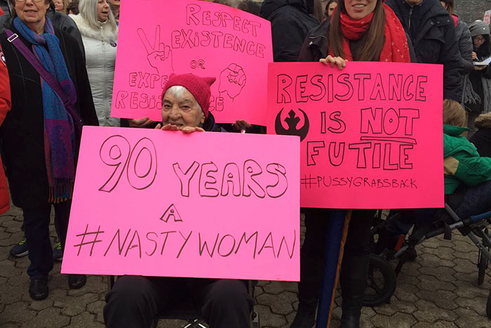 Dorothy Lloyd, A 90-year-old Self Professed Feminist, Is At Toronto's Women's March With Her Daughter Gillian And Granddaughter Stephanie