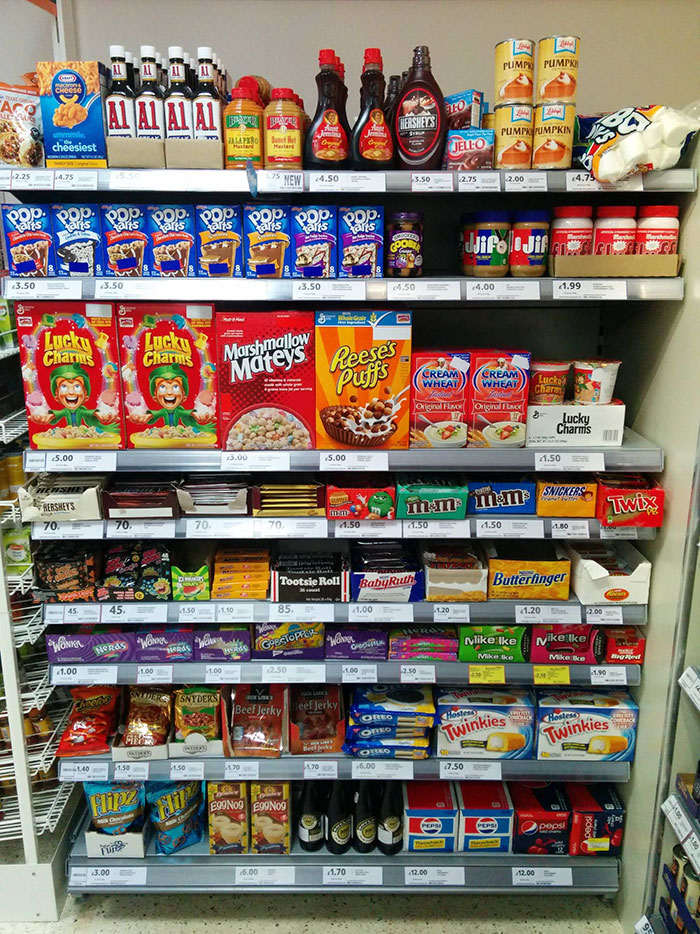 American Food Section In England