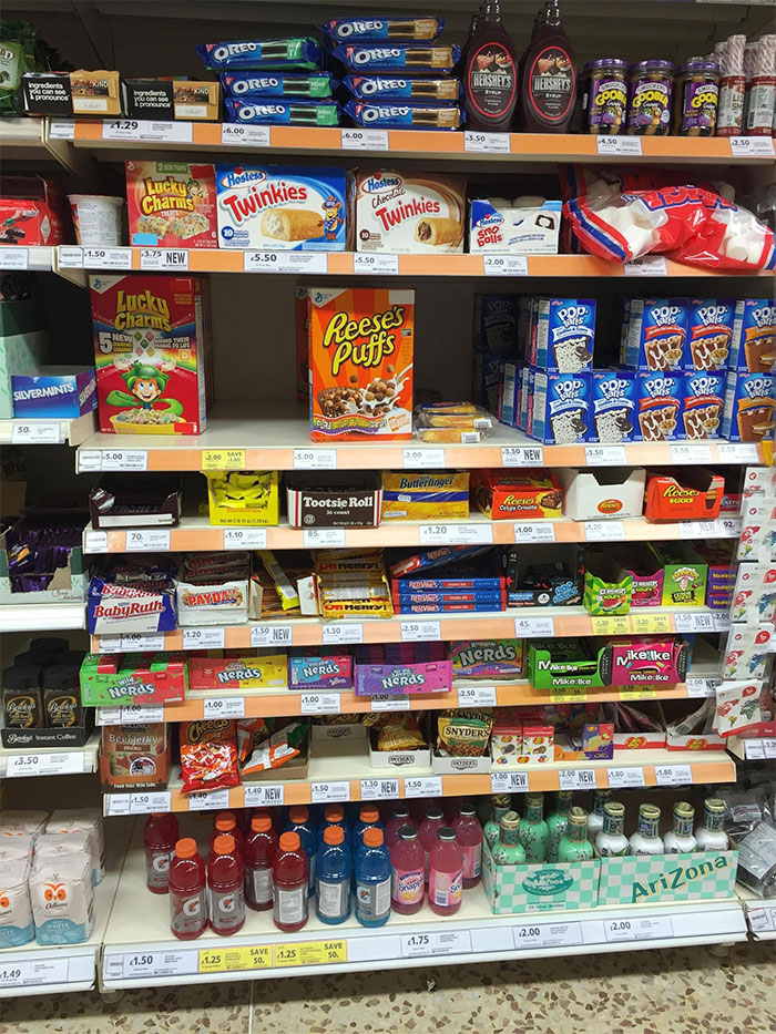 American Food Section In A Uk Supermarket. This Is Their Cross Section Of Your Eating Culture