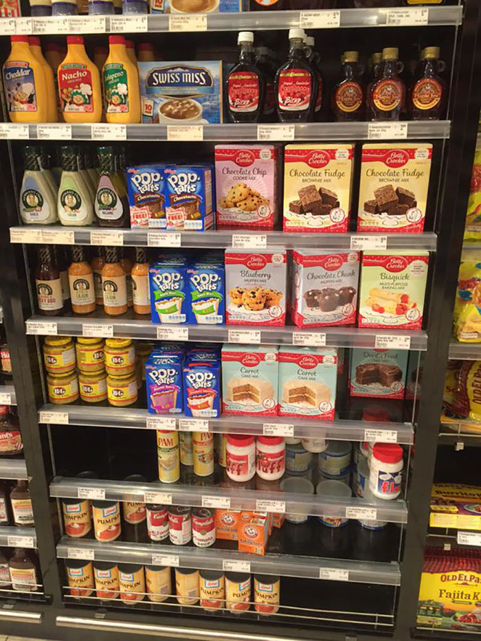 "The ""usa"" Section At The Local Galleria Upscale Grocery. Note: Poptarts, Swiss Miss, Syrup. Basically, Diabetes."