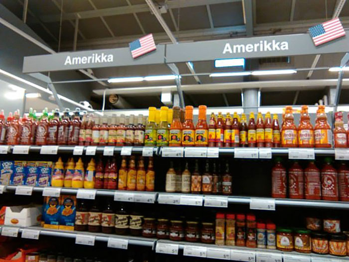 The American Food Section In A Finnish Grocery Store Will Always Amuse Me. Hot Sauce Everywhere