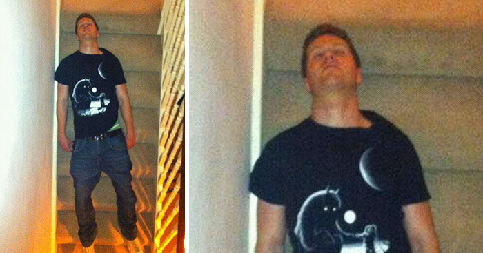"""House Mate Passed Out On The Stairs Like This (Somehow)"", And The Internet's Response Is Hilarious"