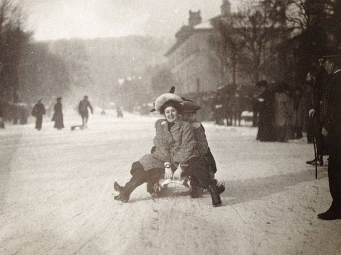 A Young Woman Goes Sledding At Buxton In The English Peak District, 1904