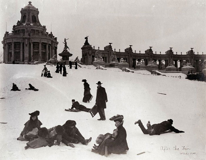 Sledding Down Art Hill After The 1904 World's Fair Was Over, St Louis, 1904