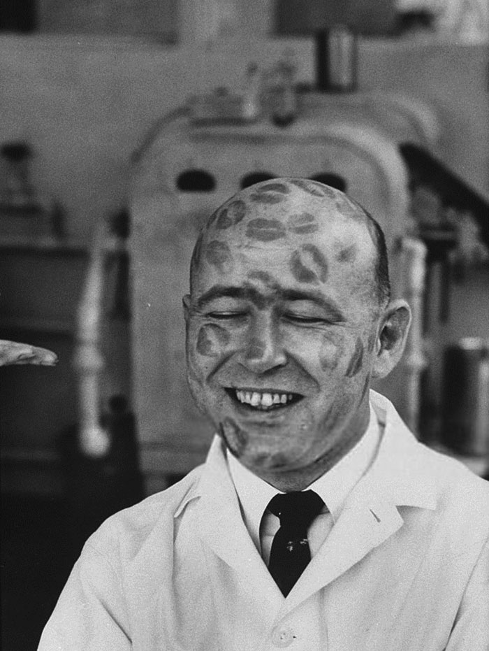 Worker In Cosmetic Company Covered With Relics Of Lipstick Kisses To Prove That Dyes In Lipsticks Are Harmless, 1960