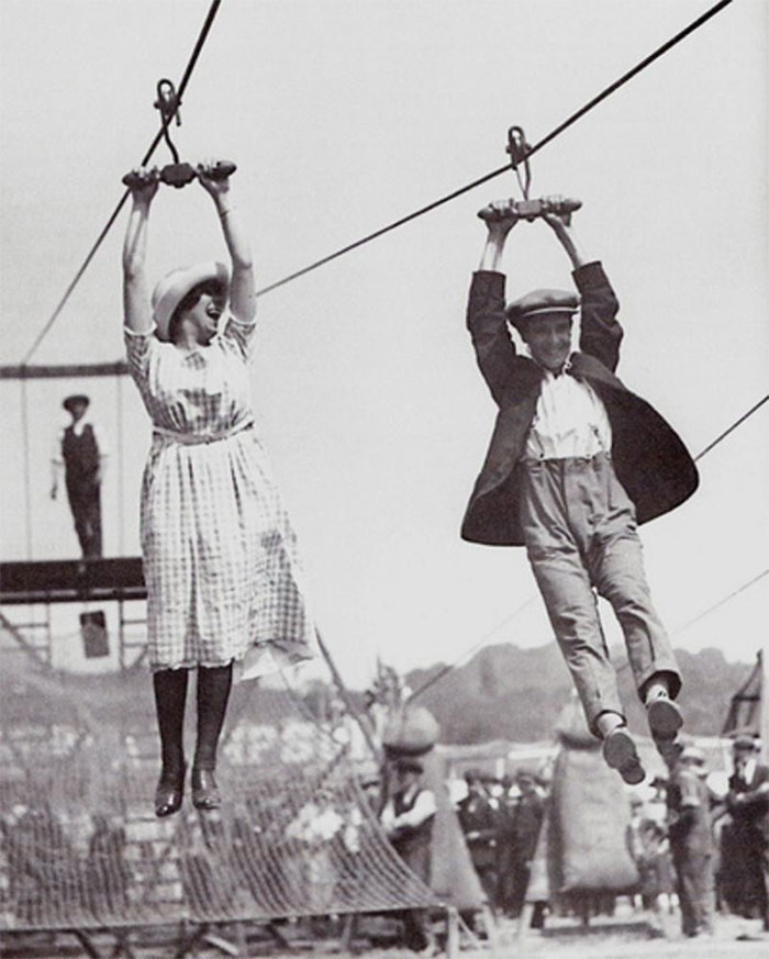 A Couple Enjoys An Old-Fashioned Zipline, 1923