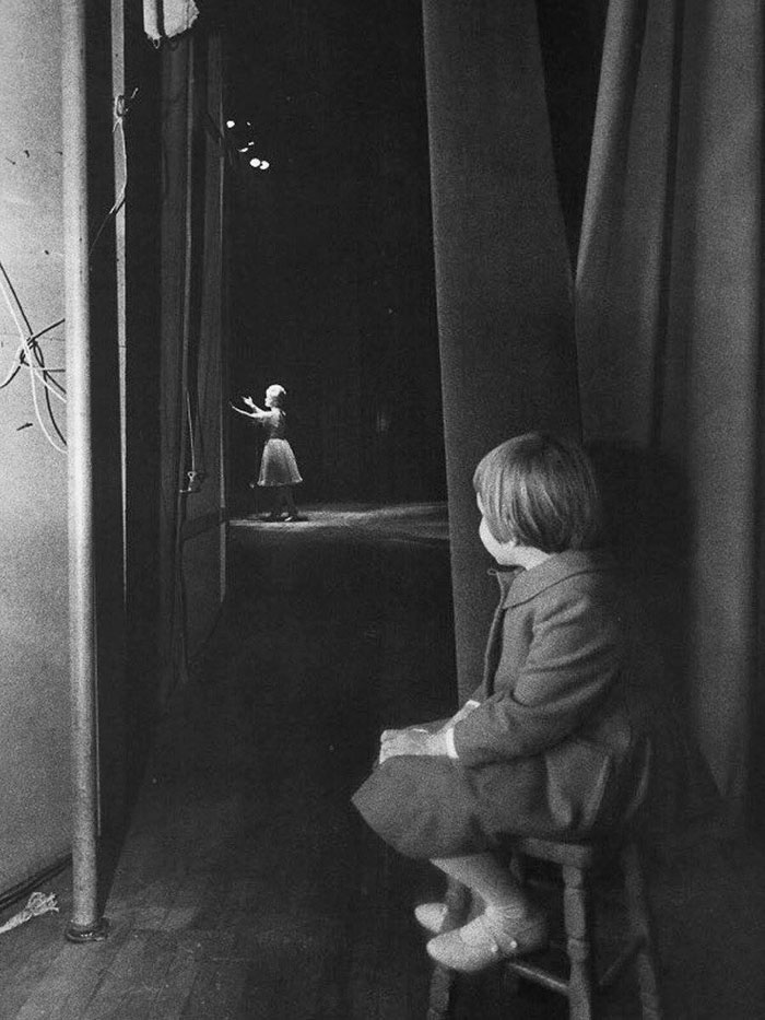 Young Carrie Fisher Watching Her Mother Debbie Reynolds Perform On Stage, 1963