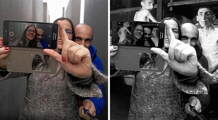 Este artista avergüenza a los turistas que se hacen fotos irrespetuosas en el Monumento del Holocausto en Berlín (NSFW)