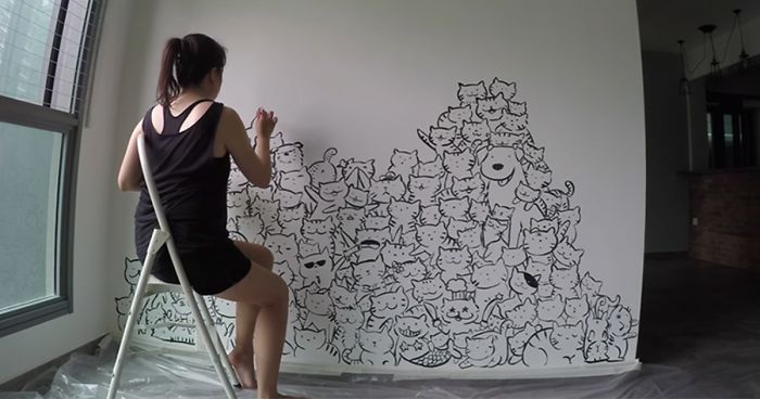 I Painted A Mountain Of Cats On A Blank Wall To Bring It To Life