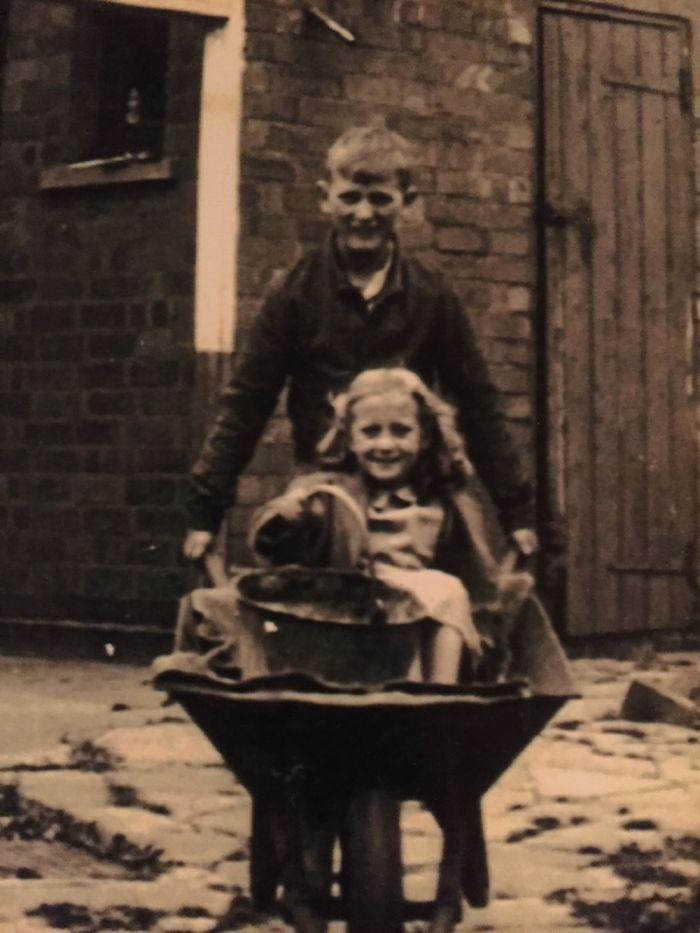 Taking His Cousin For A Wheelbarrow Ride 1948 Corley Moor, U.k.