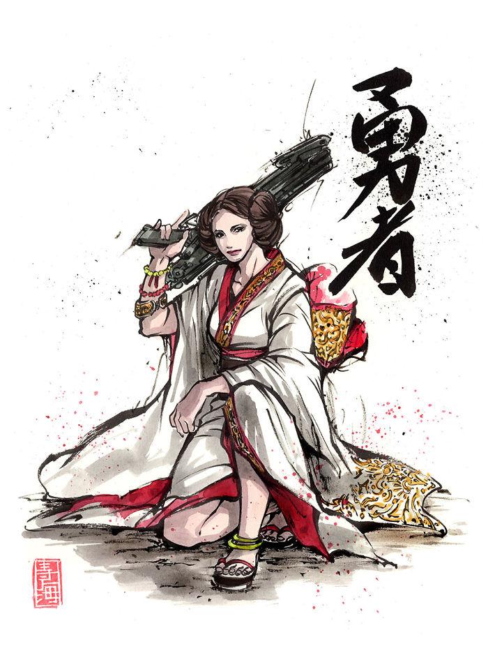 Leia In Kimono With Blaster