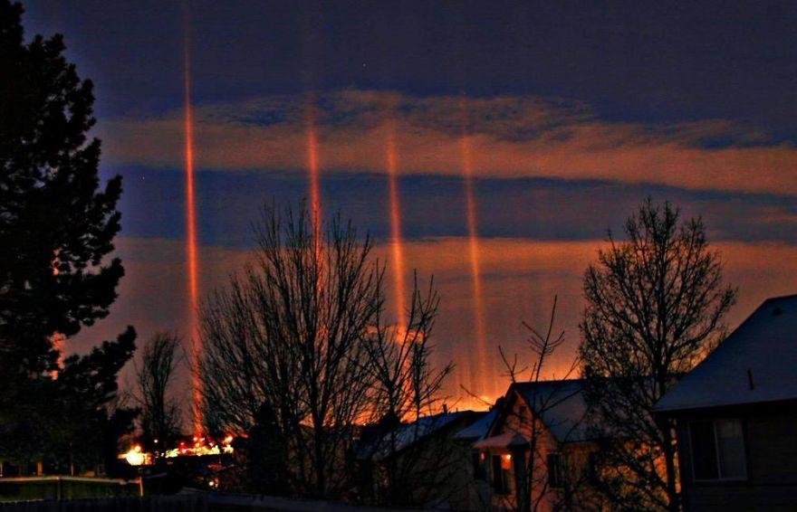 Light Pillars In Aurora, Co