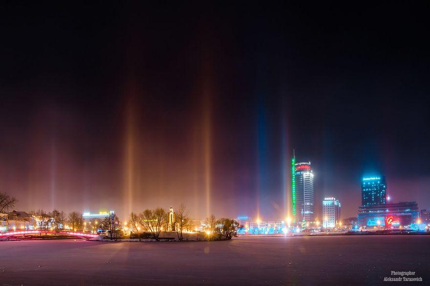 Light Pillars In Minsk, Belarus