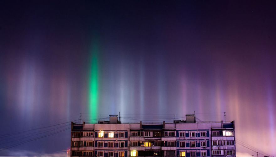 Light Pillars In Moscow, Russia