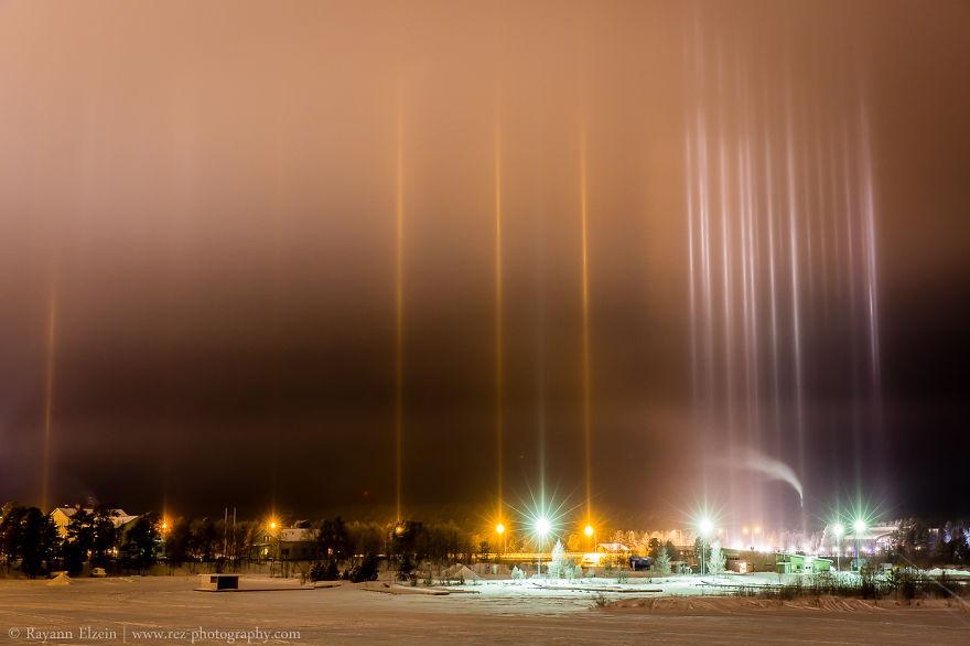 Light Pillars In Inari, Lapland, Finland