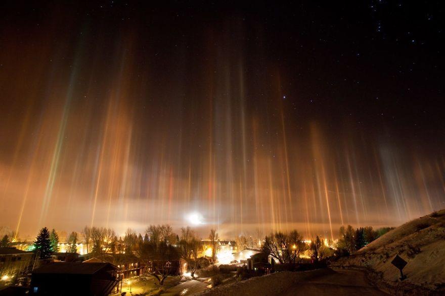Light Pillars In Jackson, Wy