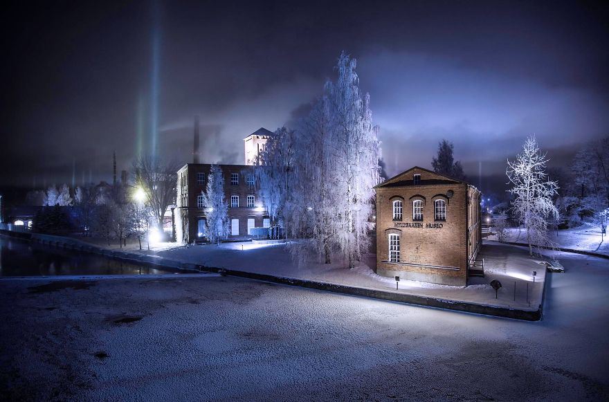 Light Pillars In Finland