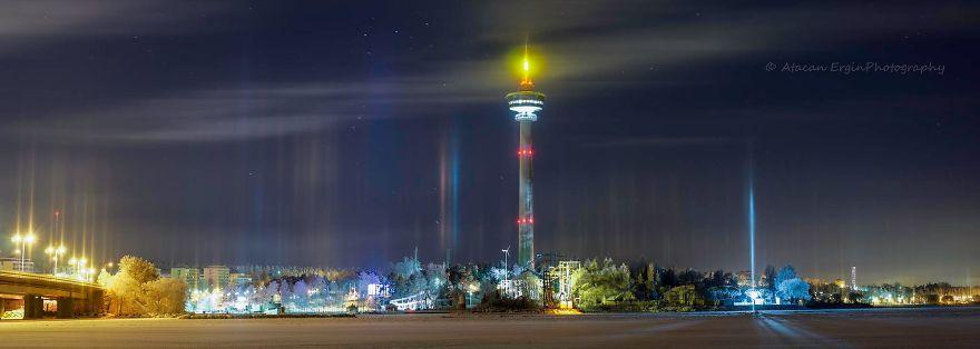 Light Pillars In Tampere, Finland
