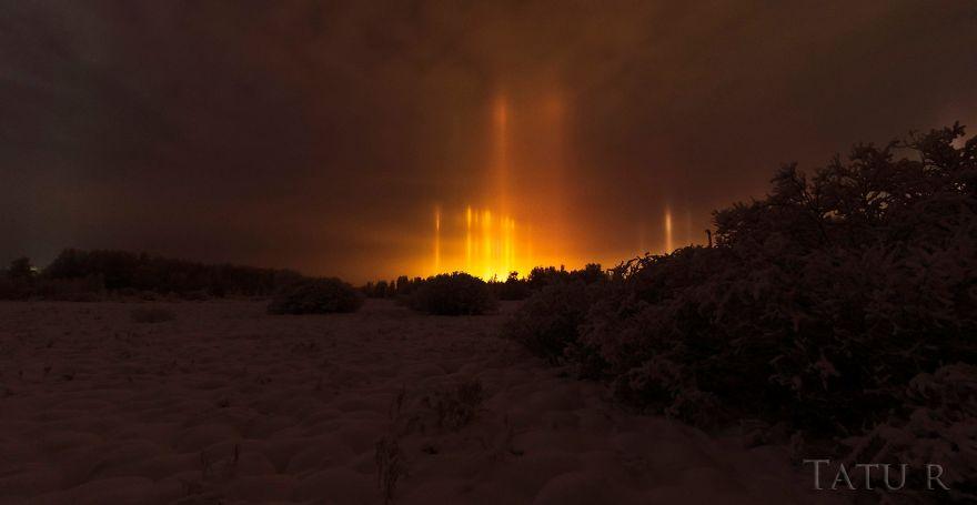 Golden Light Pillars