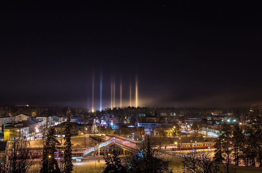 Light Pillars In Southern Finland