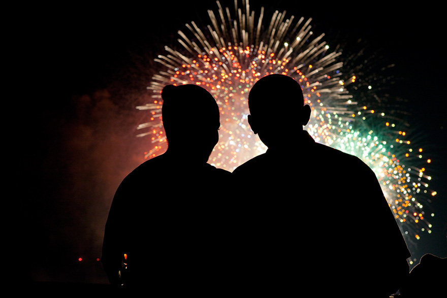 President And First Lady Obama Watch Fireworks, July 4, 2009